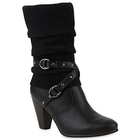 Damen High Heels Strick mit Trichterabsatz Schuhe 42540 Schwarz Weiß 39   Flandell®