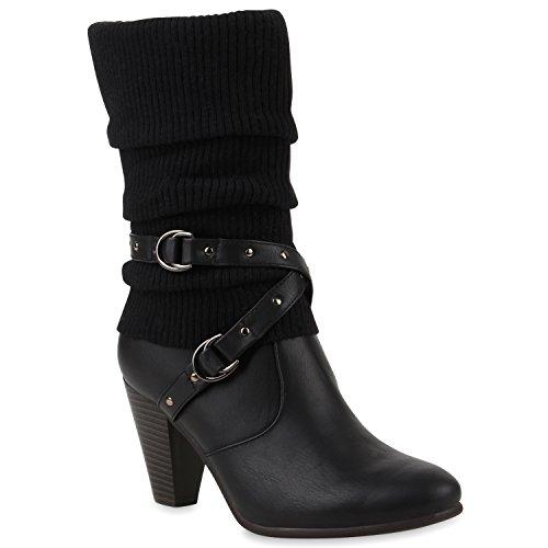 Klassische Stiefeletten Damen Stulpen Strass Stiefel Schuhe 125809 Schwarz Weiss 40 Flandell (Strass Damen Stiefel)