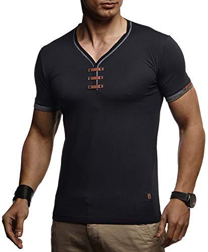 LEIF NELSON Herren Sommer T-Shirt V-Ausschnitt Slim Fit Baumwolle-Anteil | Basic Männer T-Shirt V-Neck Hoodie-Sweatshirt Kurzarm lang | Weißes Jungen Shirt Kurzarmshirts | LN4890 Schwarz XX-Large -