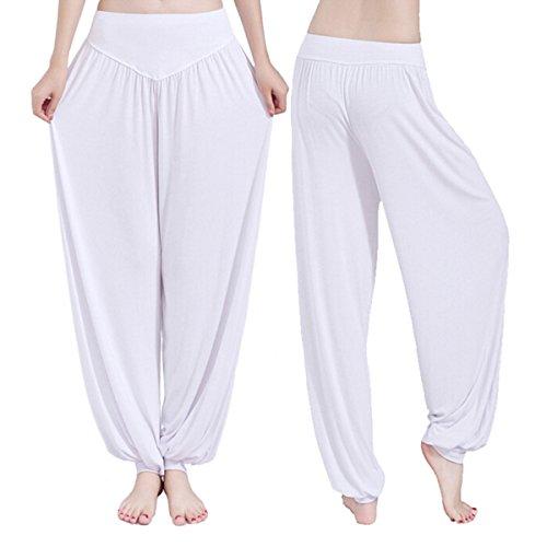 Yodensity Modal Pantalon Harem Yoga Pilates Danse Bloomer Femme Blanc