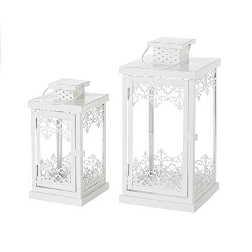 Faroles portavelas Metal Blancos clásicos decoración