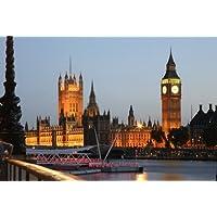 City Scene London Canvas Prints-Quadro HOUSE del Parlamento di notte, 65 x 90 cm, colore (Highland House)