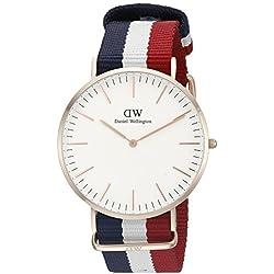 Daniel Wellington 0103DW - Reloj con correa de acero para hombre, color blanco/dorado
