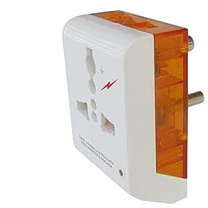 MX MX3216A 3-Pin Multi-Plug with Surge and Spike Protector (White/Orange)