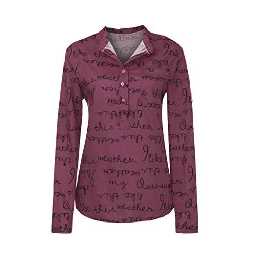 Belasdla Mujer Elegante Camisa Letra Impresa Camisa Superior Gasa Vaquera Camiseta De Mujer