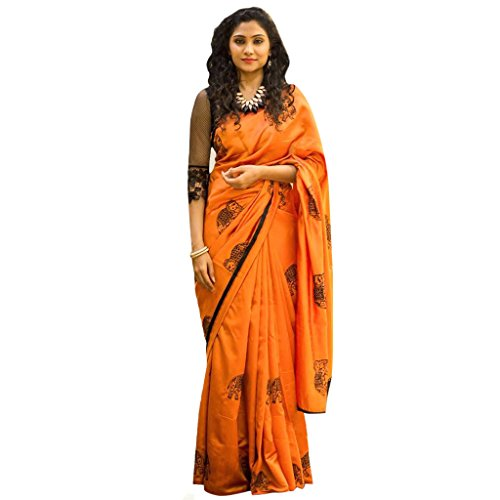 Sarees Women's Ethnic Clothing dark Orange Pepar Silk Embroidery Work Sarees For...