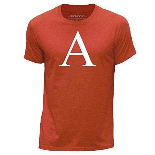 STUFF4 Uomo Girocollo T-Shirt/Alphabeto Letra Inicial A Arancia