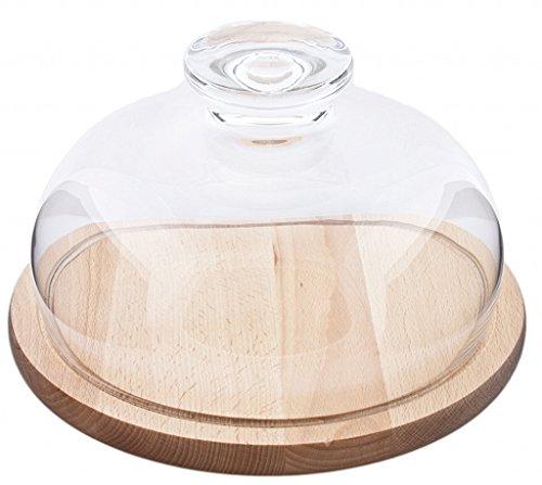 Sendez Cloche en verre avec planche à découper de 25 cm, cloche en verre et bois pour fromages/muffins