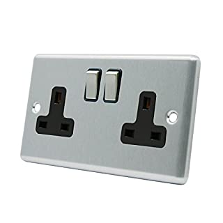 Socket 2 Gang - Satin Matt Chrome - Square - Black Insert - Metal Rocker Switch - 13 Amp Double Wall Plug Socket