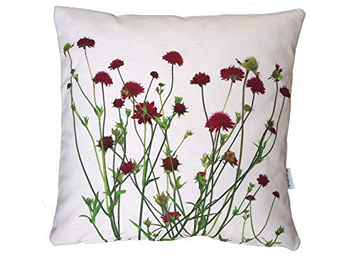 Blumenkissen, Kissenbezug, dunkelrote Blüten (Knautia), Baumwolle, 40x40cm