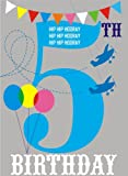 Claire Giles Hatful of Happy Age 5 Birthday Card - Blue