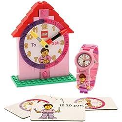 LEGO Pink Time Teacher Quartz Watch and Constructible Clock 9005039