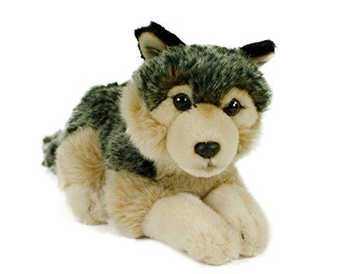 Preisvergleich Produktbild Kuscheltier Wolf, 24 cm, liegend, grau/beige, Plüschwolf