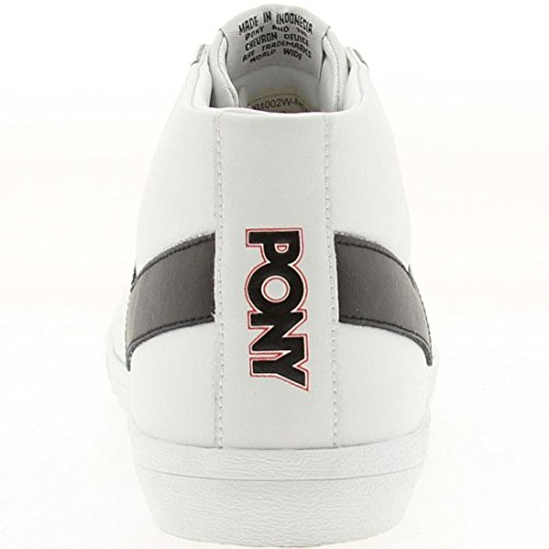 Pony Topstar Hi Leather, Sneaker donna Bianco/Nero