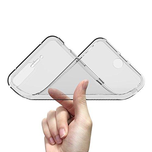 GrandEver iPhone 7 Plus Weiche Silikon Hülle Durchsichtige Flip Rückschale TPU Bumper Transparent Schutzhülle Klar Handytasche Anti-Kratzer Stoßdämpfung Ultra Slim Rückseite Silicon Backcover Soft Cas Grün