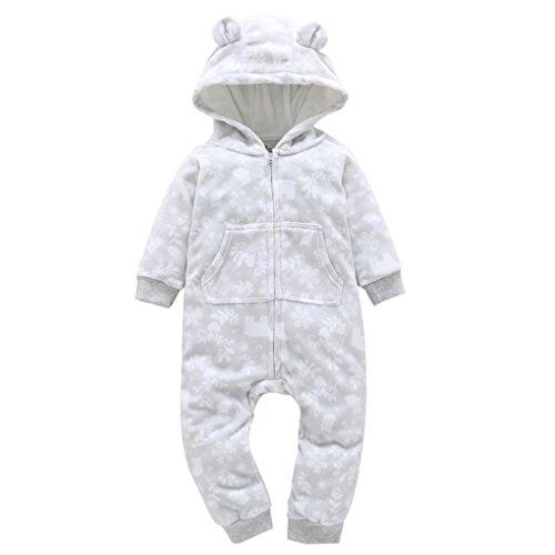 Sonnena Weihnachten Baby Jungen Mädchen dicker Print Kapuzen Strampler Jumpsuit Home Kleidung 9M White 3 (Paws Hoodie Santa)