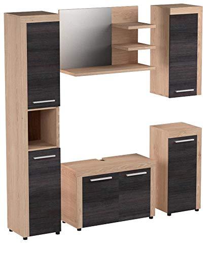 Trendteam Badmöbel Set 5 teilig, Nussbaum Satin - 4