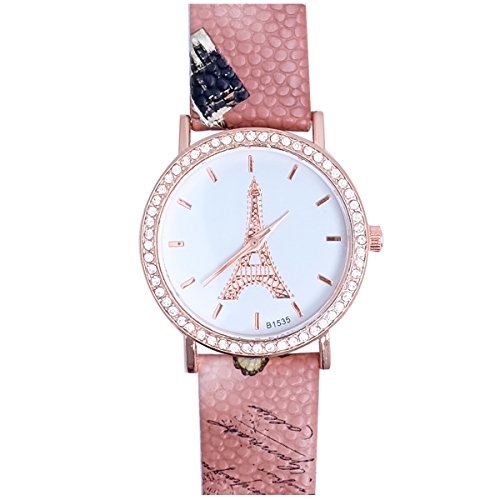 Super Drool ST2444_WT_BROWN Shimmer Eiffel Analog Watch For Girls
