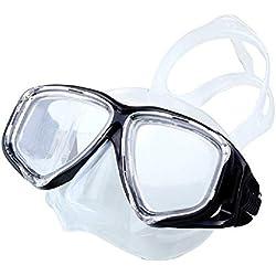Lunettes de protection pour adultes Miroir de plongée pour la plongée, ensemble de tubes de respiration pour la plongée, masque pour adulte de grande taille, miroir de plongée en apnée, plongée, noir,