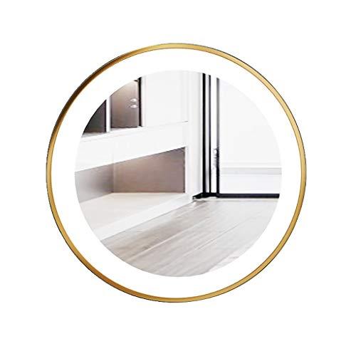 Kosmetikspiegel Make-Up-Spiegel Schminkspiegel Nordic Schmiedeeisen LED beleuchtet runden Spiegel, Wand-Badezimmerspiegel, Kosmetikspiegel, Kosmetikspiegel, Rasierspiegel, Mode Badezimmer Dekoration ( - Beleuchtete Wand Make-up-spiegel