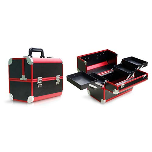 HUATINGRHBO Make-up-Fall, Make-up-Veranstalter Nagellack Schmuck Kosmetikbox Beauty Vanity Case Extra großer Raum (Größe: 31,5 cm × 21 cm × 26,5 cm), Black (Nagellack Case Handy)