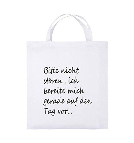 Comedy Bags - Bitte nicht stören, ich bereite mich gerade auf den Tag vor. - Jutebeutel - kurze Henkel - 38x42cm - Farbe: Schwarz / Pink Weiss / Schwarz