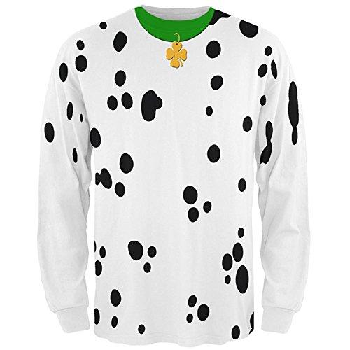 St Patricks Tag Hund Dalmatiner Kostüm grün Shamrock Mens Long Sleeve T-Shirt Kragen Multi-2XL (St Patrick Tag T Shirts)