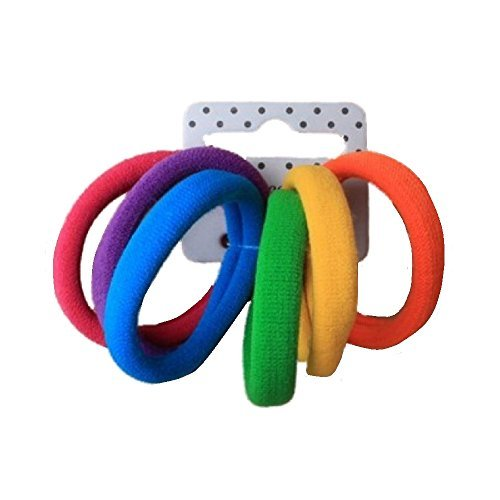 Set of 6 Bright Coloured Soft Jersey Endless Hair Elastics Bobbles Bands by Pritties Accessories -