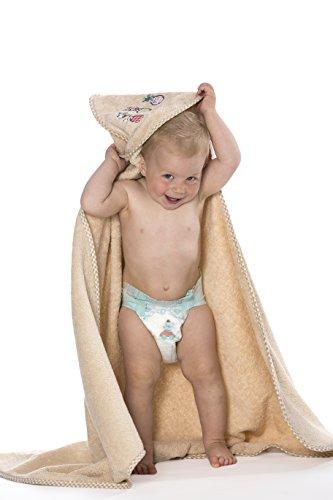 ZOLLNER® Kapuzenhandtuch / Kapuzenbadetuch / Kapuzentuch für Babys aus 100% Baumwolle, 100x100 cm, karamel, in weiteren Farben erhältlich, vom Hotelwäschespezialisten, Serie