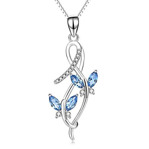 Schmetterling Kette Damen Halskette Schmuck 925 Sterling Silber Unendlichkeits Anhänger (Schwester Anhänger Halsketten)