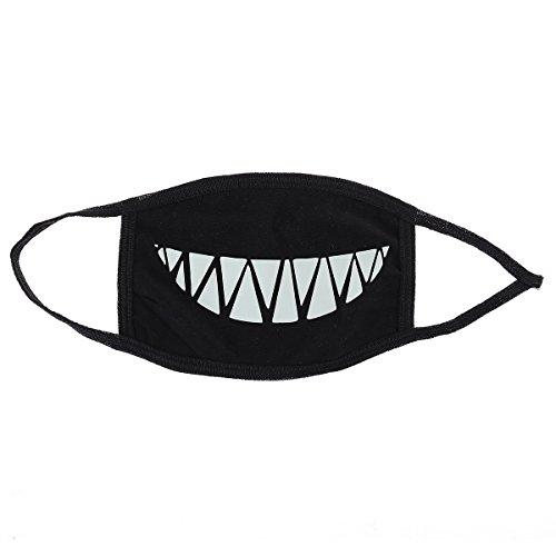 Museya Cechya Mund Gesicht Maske Muffel Anti-Staub Baumwolle Maske mit Luminous Zähne (schwarz)
