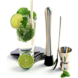 Yoko Design 1238 - Kit para preparar mojitos (acero inoxidable, 21,6 x 17,5 x 5 cm), color gris