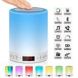 Nachttischlampe Stimmungslicht mit Bluetooth Lautsprecher Wake Up Licht mit FM Radio Digital Wecker Digitaluhr, Urslif USB To