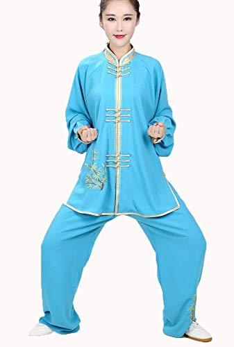 Abbigliamento Donna Tai Chi Uniforme di Arti Marziali Non Sbiadisce Donne Tradizionali Cinesi Shaolin Kung Fu Abbigliamento Mattina Vestito Blu,M