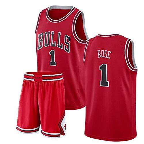 GEXING Derrick Rose # 1 Herren Basketballbekleidung - NBA Chicago Bulls - Ärmelloses Sport-Basketballtrikot-Set Red-XS Derrick Rose Jersey