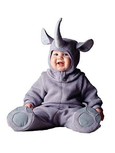 Baby Nashorn Kostüm - Rhinoceros Baby-Kostüm, 3-24 Monate, langärmelig, Flanell, Einteiler, Babykleidung