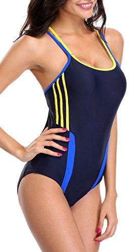 Attraco Damen Figurumspielender Badeanzug Streifen Einteiler Sport Bademode Schwarz-Gelb