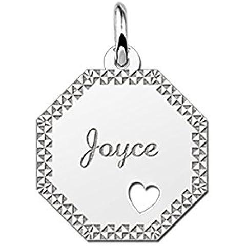 Nome Forever Gourmet collana con pendente da 8rettangolare in argento con incisione del nome e diamantata e ausgestanztem cuore