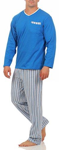 Eckard Langer Schlafanzug Oberteil blau Hose Streifen Herren Gr. 54/XL schlafanzug herren Pyjama schlafanzug nachtwäsche Größe Grösse Gr 48-50 52-54 56-58 lang xxxl S M L XL 2XL 3XL hajo