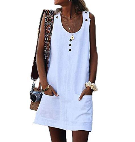 Ailnge Damen Leinenkleid ärmellos Sommerkleid Rundhalsausschnitt Freizeitkleid Strandkleider Einfarbig Boho Tank Kleider Mit Button Und Taschen