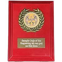 Emblems-Gifts - Placa roja Personalizable para Eventos, diseño con Texto en inglés Hurling Award Graved, Disponible en 3 tamaños, Rosa roja, 5 Inch (12.5 cm)