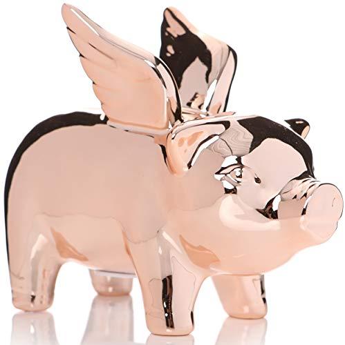 Shruti Ta Da - Hucha con Efecto de Oro Rosa, Diseño de Cerdo Volador