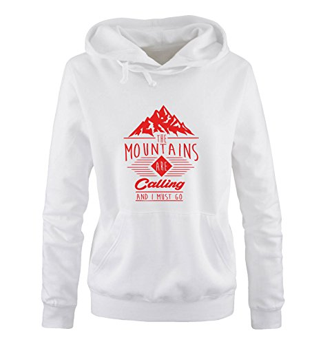 Comedy Shirts - The mountains are calling and i must go - Damen Hoodie - Weiss / Rot Gr. M