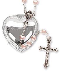 Idea Regalo - Rosario per ragazza, idea regalo per prima comunione, effetto perla e argento, con cofanetto a forma di cuore