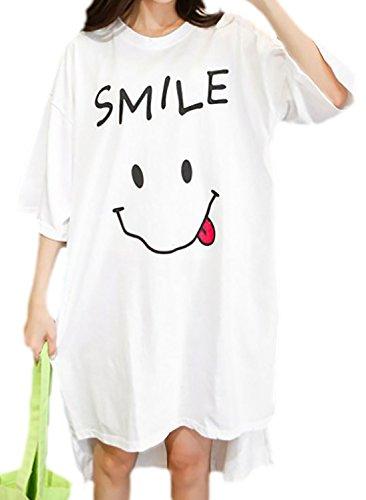 erdbeerloft - Damen Oversize Shirtkleid mit Smiley Print, One Size, viele Farben Weiß