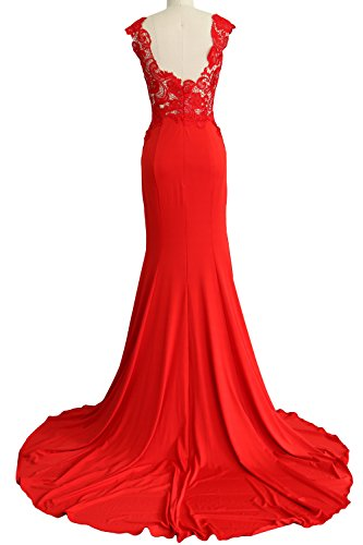 MACloth Women Mermaid Long Prom Dress 2017 Lace Jersey Formal Party Evening Gown Fuchsia