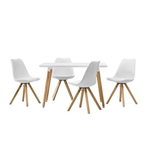 Leder-wohnzimmer-tisch ([en.casa] Esstisch mit 4 Stühlen weiß Gepolstert 120x70cm Kunstleder Esszimmer Essgruppe Küche)