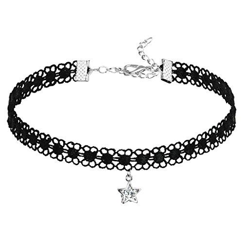 Epinki Damen Choker (Verstellbar), Spitze Halsband Hohl Stern Form Maskenspiel Kropfband Klassische Damenkette Silber Schwarz(Stern) mit Zirkonia, 31.7CM