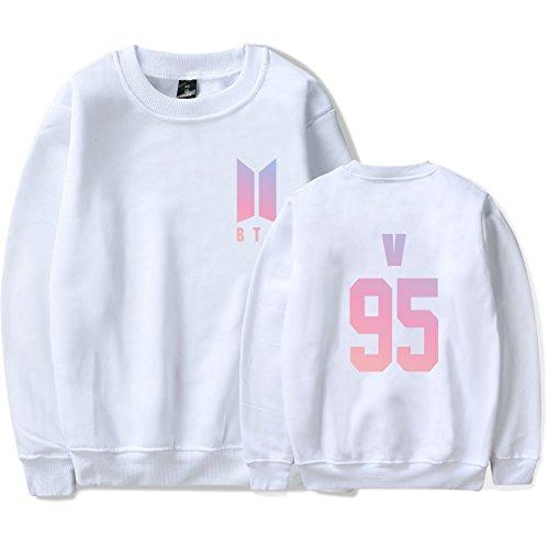 SIMYJOY Lovers BTS Fans Felpa KPOP Pullover Hip Hop Felpa Top per Uomo Donna Adolescente bianco V 95