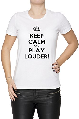 keep-calm-and-play-louder-donna-t-shirt-bianco-cotone-girocollo-maniche-corte-white-womens-t-shirt